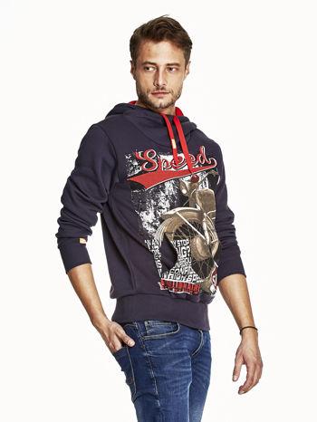Granatowa bluza męska z kapturem z napisem SPEED                                  zdj.                                  3