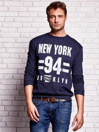 Granatowa bluza męska z napisem NEW YORK                                  zdj.                                  1