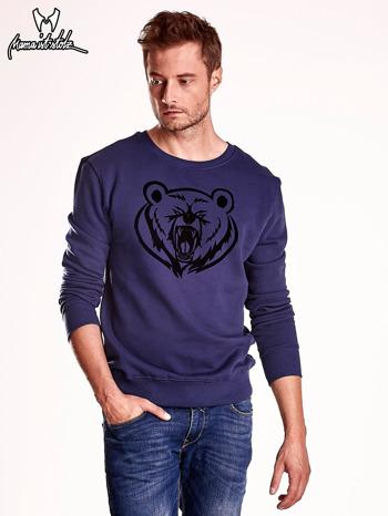 Granatowa bluza męska z niedźwiedziem                                  zdj.                                  2