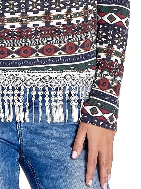 Granatowa bluza w azteckie wzory z koronką z frędzlami                                  zdj.                                  5