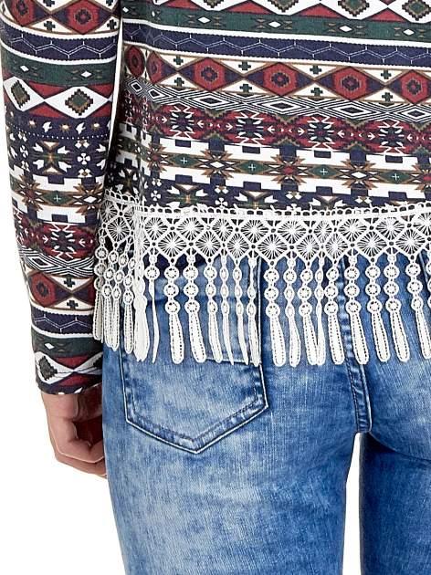 Granatowa bluza w azteckie wzory z koronką z frędzlami                                  zdj.                                  6