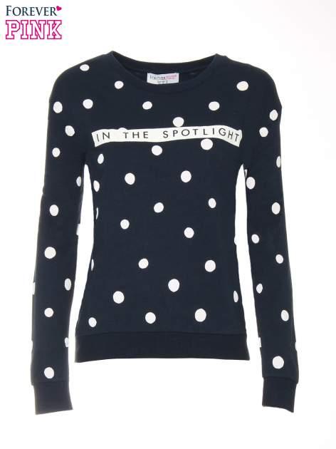 Granatowa bluza w grochy z napisem IN THE SPOTLIGHT                                  zdj.                                  5