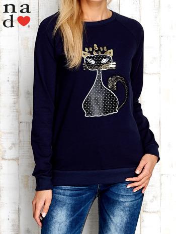 Granatowa bluza z cekinowym kotem                                  zdj.                                  1