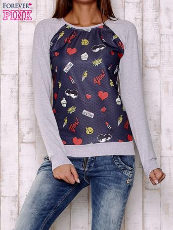 Granatowa bluza z motywami komiksowymi