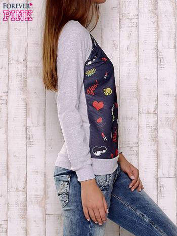 Granatowa bluza z motywami komiksowymi                                  zdj.                                  3