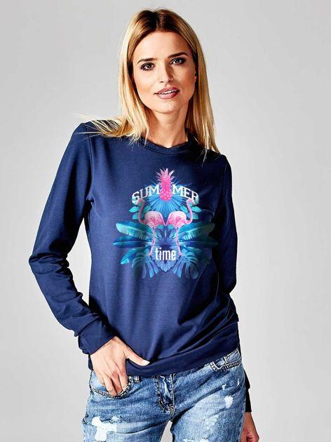 Granatowa bluza z nadrukiem flamingów                                  zdj.                                  1