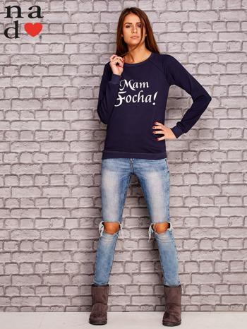Granatowa bluza z napisem MAM FOCHA                                  zdj.                                  2