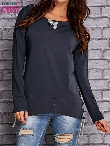 Granatowa bluza z wiązaniami                                  zdj.                                  1