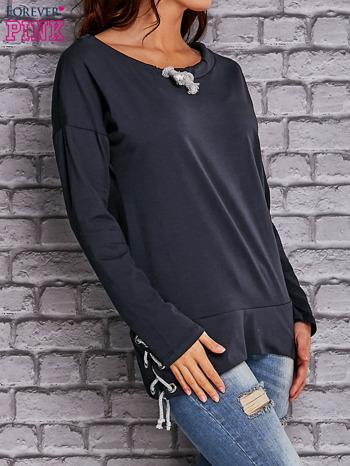 Granatowa bluza z wiązaniami                                  zdj.                                  3