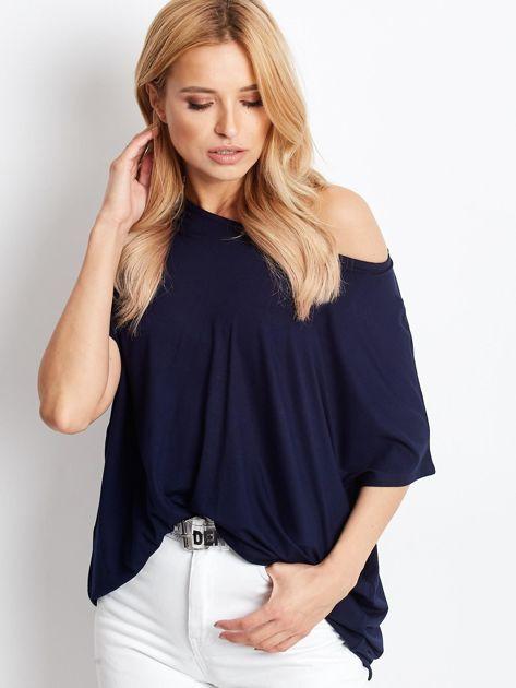 Granatowa bluzka damska Oversize                              zdj.                              1
