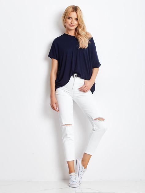 Granatowa bluzka damska Oversize                              zdj.                              4