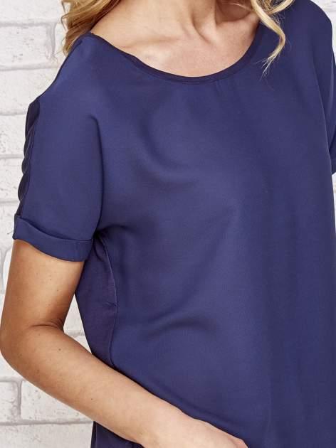 Granatowa bluzka koszulowa z koronką z tyłu                                  zdj.                                  4