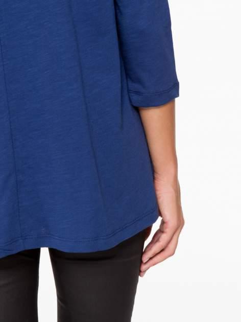 Granatowa bluzka o rozkloszowanym kroju z rękawem 3/4                                  zdj.                                  9