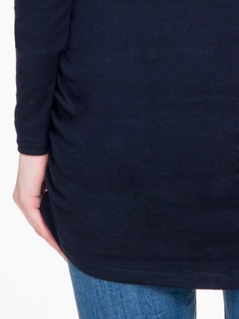 Granatowa bluzka tunika z marszczonym dołem                                  zdj.                                  9
