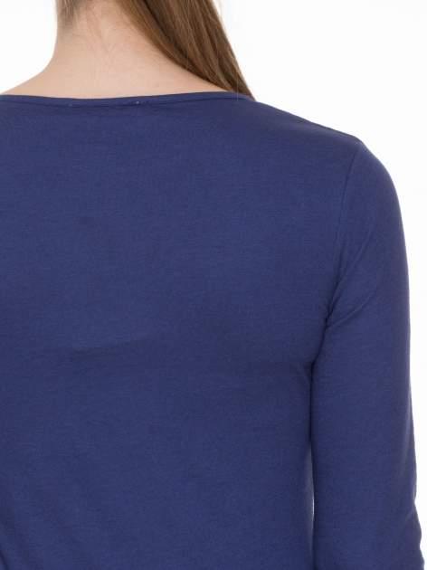 Granatowa bluzka z długim rękawem z bawełny                                  zdj.                                  5