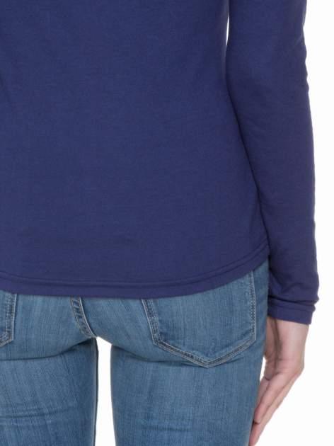 Granatowa bluzka z długim rękawem z bawełny                                  zdj.                                  6