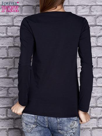 Granatowa bluzka z koronkową wstawką                                  zdj.                                  4