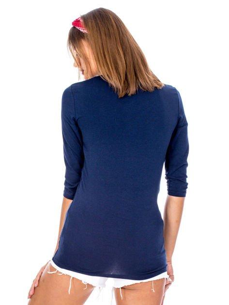 Granatowa bluzka z plecionymi paskami                              zdj.                              2