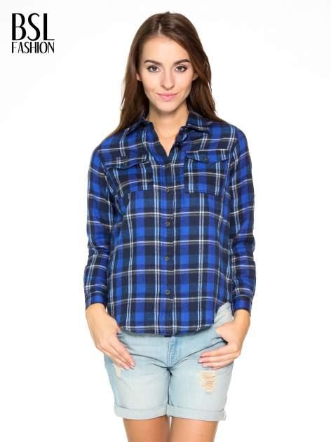 Granatowa damska koszula w kratę z kieszonkami                                  zdj.                                  1