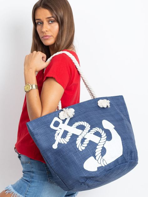 Granatowa damska torba z nadrukiem                              zdj.                              4
