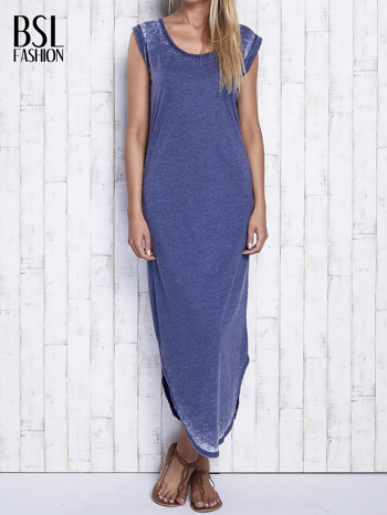 Granatowa długa sukienka acid wash                                   zdj.                                  1