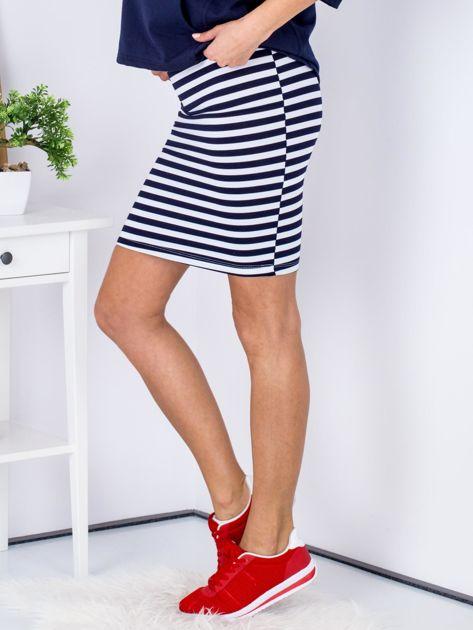 Granatowa dopasowana spódnica w paski                              zdj.                              5