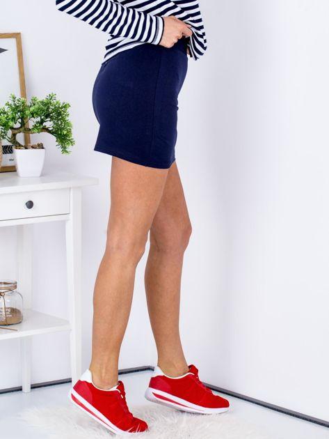 Granatowa dresowa spódnica mini                              zdj.                              3