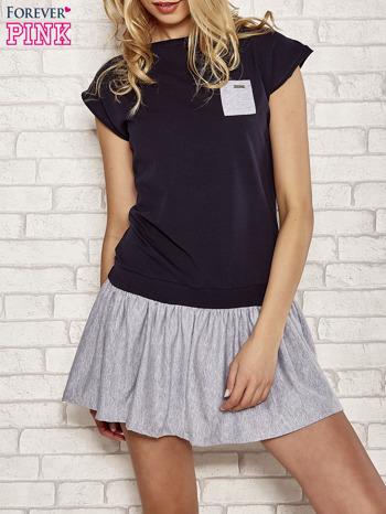 Granatowa dresowa sukienka tenisowa z kieszonką                                  zdj.                                  1