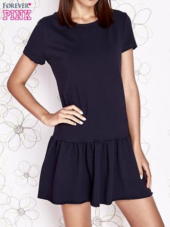 Granatowa dresowa sukienka z wycięciem na plecach                                   zdj.                                  1