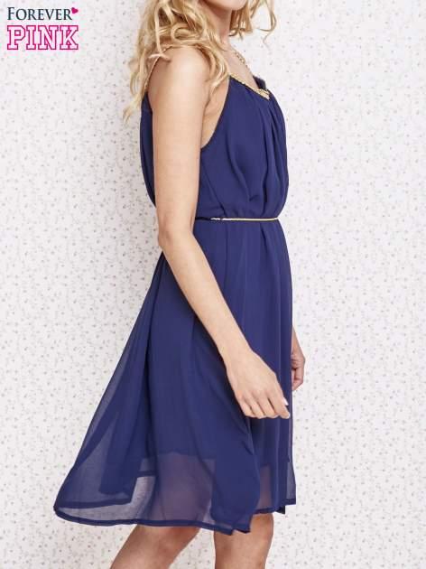 Granatowa grecka sukienka ze złotym paskiem                                  zdj.                                  3