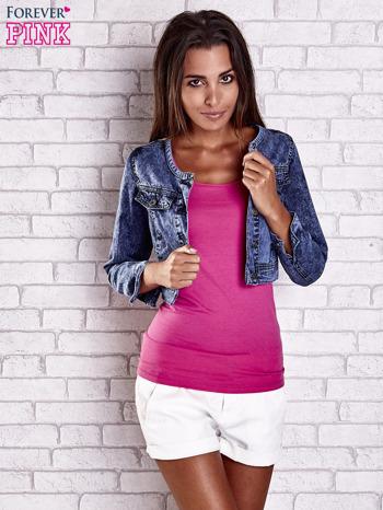 Granatowa jeansowa kurtka z kieszeniami i dekatyzacją                                  zdj.                                  4