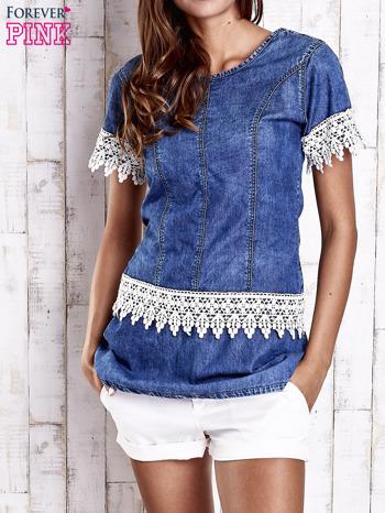 Granatowa jeansowa tunika z koronkowym wykończeniem                                  zdj.                                  1