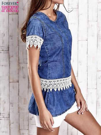 Granatowa jeansowa tunika z koronkowym wykończeniem                                  zdj.                                  3