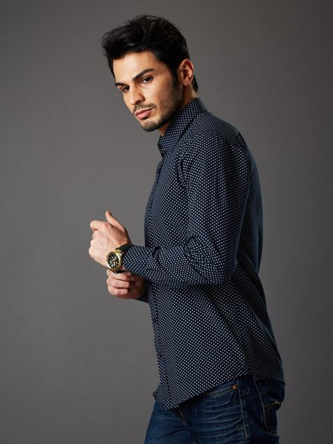 Granatowa koszula męska o klasycznym kroju we wzory                              zdj.                              3