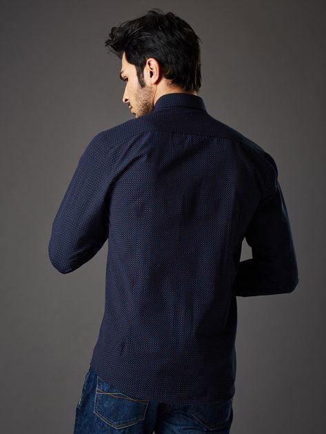 Granatowa koszula męska w kropki regular fit                              zdj.                              2