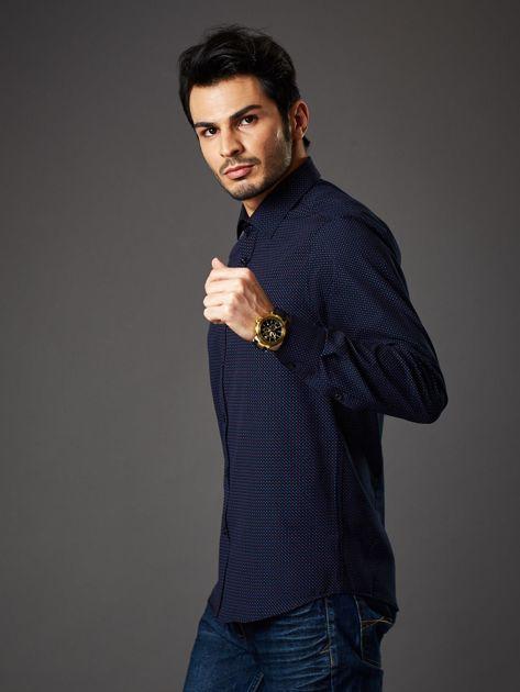Granatowa koszula męska w kropki regular fit                              zdj.                              3