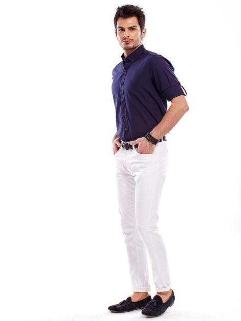 Granatowa koszula męska z podwijanymi rękawami                              zdj.                              10