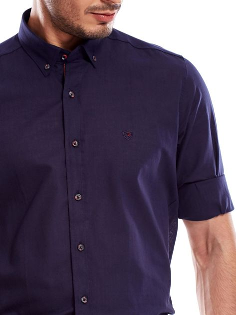 Granatowa koszula męska z podwijanymi rękawami                                  zdj.                                  5