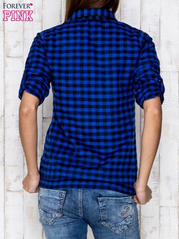 Granatowa koszula w ciemną kratę                              zdj.                              4
