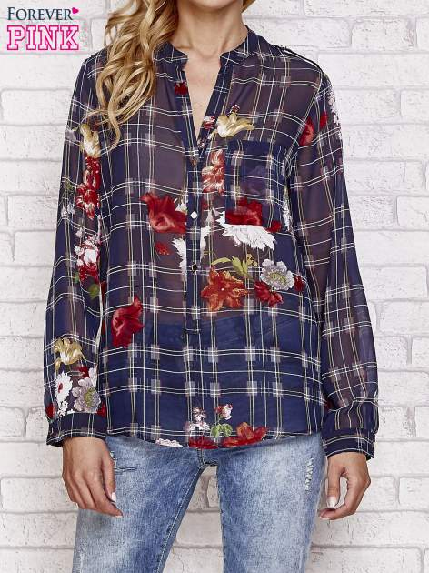Granatowa koszula w kratę z kwiatami                                  zdj.                                  1