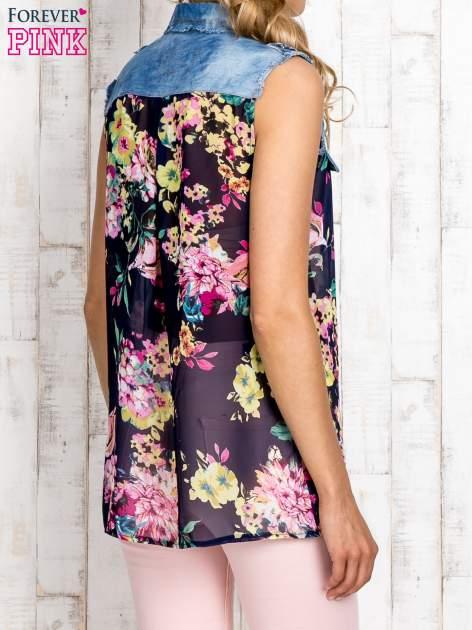 Granatowa koszula z kwiatowym motywem                                  zdj.                                  5