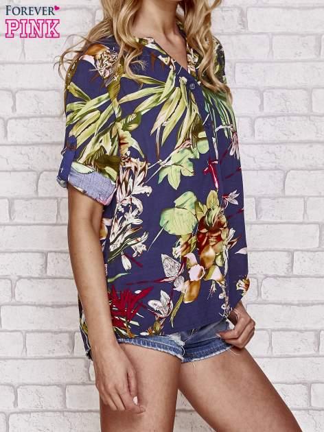 Granatowa koszula z kwiatowym nadrukiem                                  zdj.                                  3