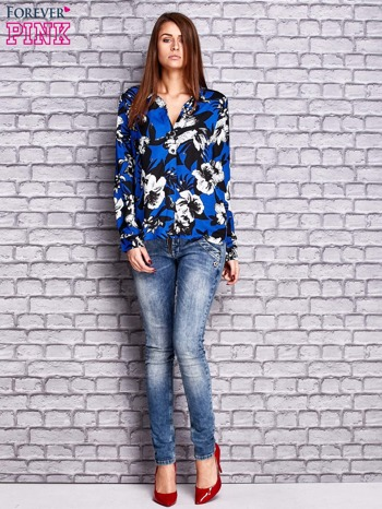 Granatowa koszula z motywem kwiatowym                                  zdj.                                  4