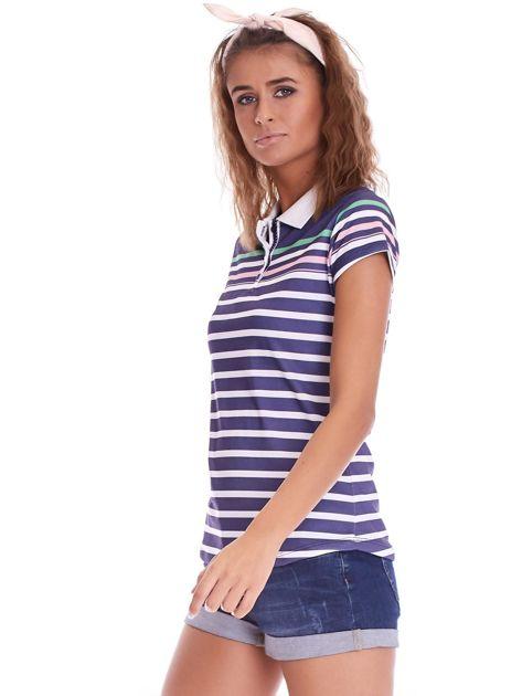Granatowa koszulka polo w paski                              zdj.                              6