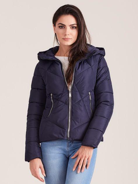 Granatowa krótka kurtka zimowa                              zdj.                              1