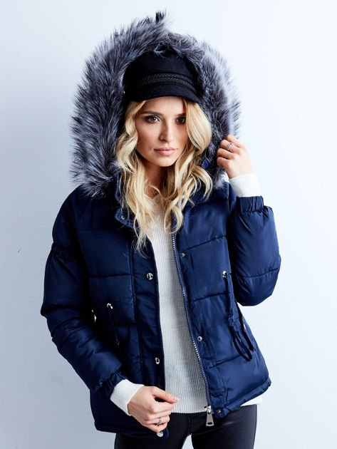 Granatowa kurtka zimowa pikowana                              zdj.                              5