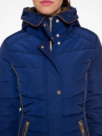 Granatowa kurtka zimowa ze skórzaną lamówką i futrzanym kapturem                                  zdj.                                  7
