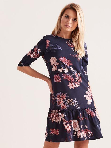 Granatowa kwiatowa sukienka z falbaną                              zdj.                              1