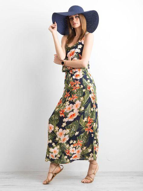 Granatowa letnia sukienka w kwiaty                              zdj.                              1