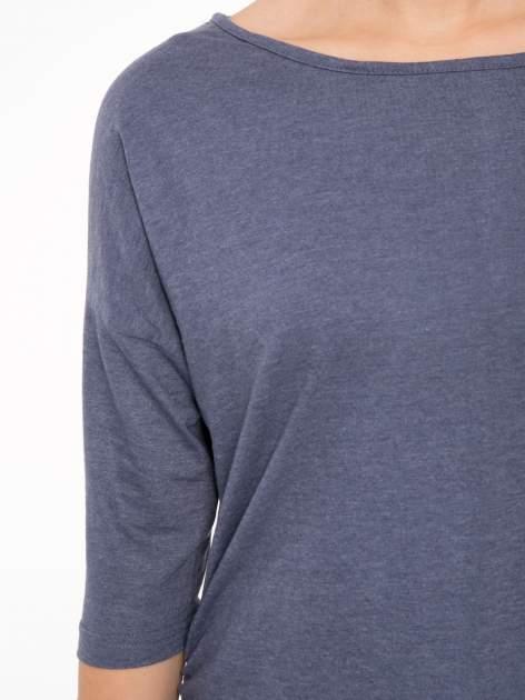 Granatowa luźna bluzka z rękawem 3/4                                  zdj.                                  5